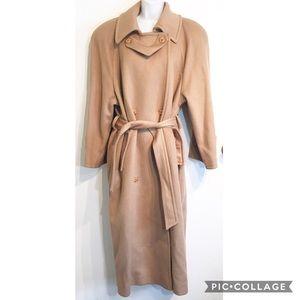 Vintage John Weitz Long Tan Wool Trench Coat